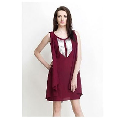 Silver Ladies Polyester Elegant Top (Maroon)