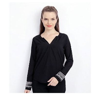 silver ladies full sleeve polyester stylish top (black)