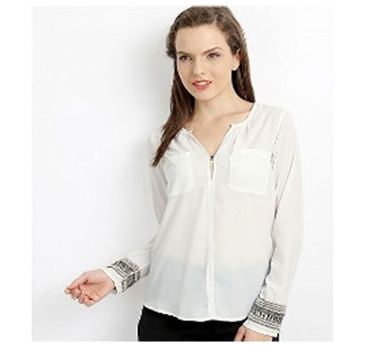Silver Ladies Long Bangle Polyester Fashion Top (White)