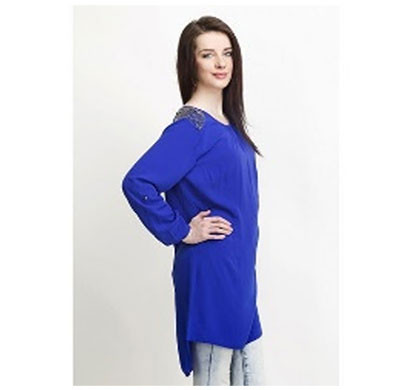 Silver Ladies Studed Shoulder Polyester Top (Blue)