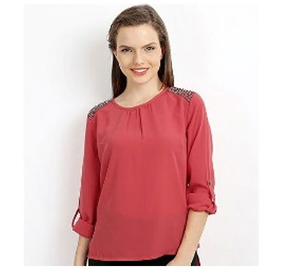 Silver Ladies Red Studded Polyester Top (Red)