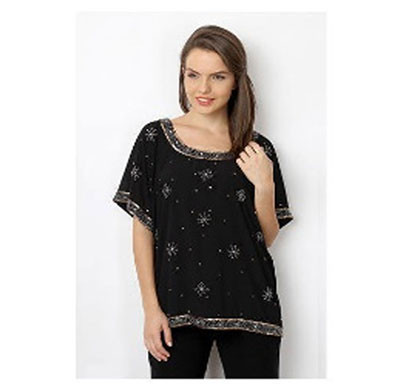 Silver Ladies Stylish Embroidery Polyester Top (Black)