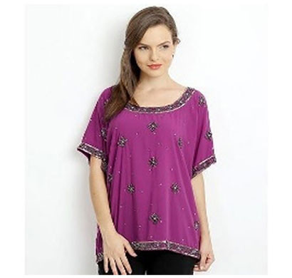 Silver Ladies Trendy Embroidered Polyester Top (Purple)
