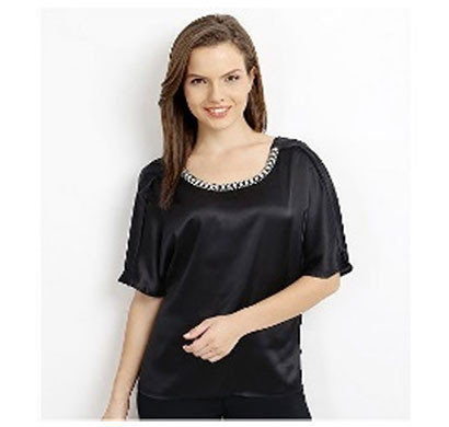 Silver Ladies Half Sleeve Stylish Top (Black)