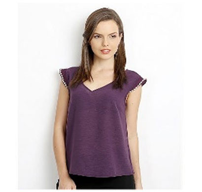 Silver Ladies Butterfly Back Half Sleeve Top (Purple)