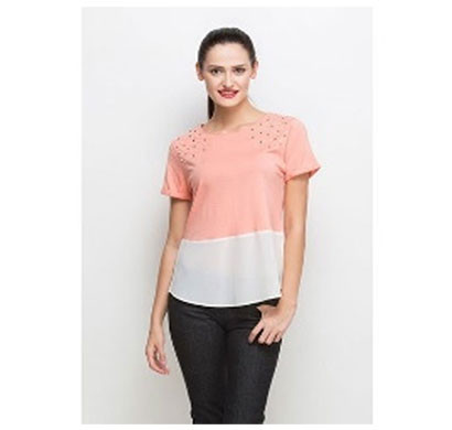 silver ladies peach white stylish top