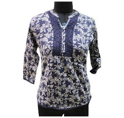 Silver Ladies Blue White Cotton Printed Top