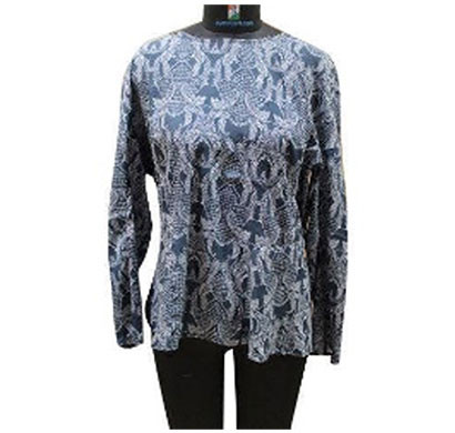 silver ladies full sleeve polyester printed top (blue)