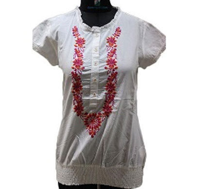 silver ladies garland embroidered white cotton top (white)