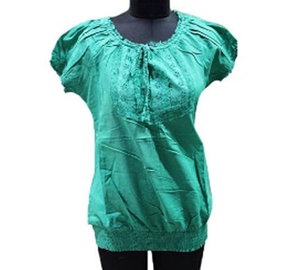 silver ladies solid cotton fashion top (green,red)