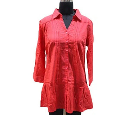 Silver Ladies Red Plain Cotton Shirt (Red)