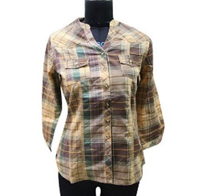 Silver Ladies Cotton Check Mustard Shirt (Yellow)