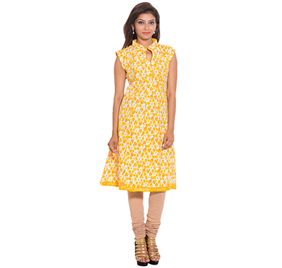 SML Originals- SML_698, Beautiful Stylish 100% Cotton Kurti, L Size, Yellow