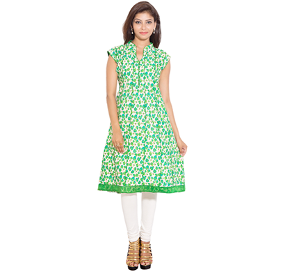 SML Originals- SML_698, Beautiful Stylish 100% Cotton Kurti, L Size, Green