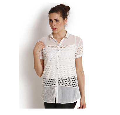 SOIE Casual Half Sleeve Boat Neck Shirt (Off White,Skin Color)