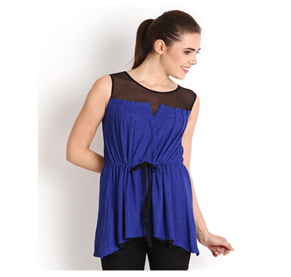 SOIE Casual Round Neck Sleeveless Top (Navy Blue and Red)