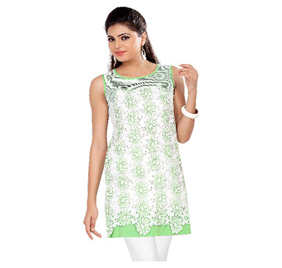 SOIE Tunic Casual Sleeveless Round Neck Women Top (Black and Off White,Green and Off White)