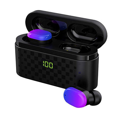 Sounce AirPro Bluetooth Wireless Earphones with 5.0 Bluetooth in-Ear Running Headphones IPX5 Waterproof & 3500 mAh Charging Case (Black)