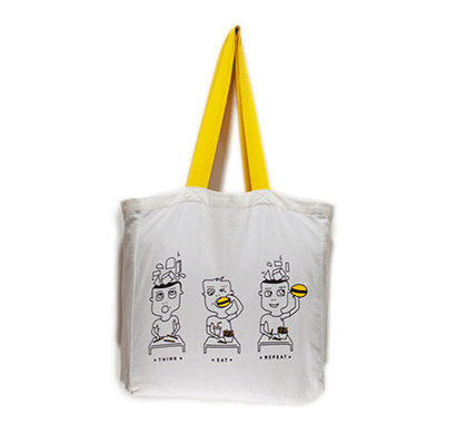 squares and squiggles tote bag - think eat repeat