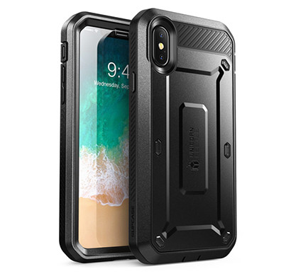 Supcase (B07FPH2LQ4) (Unicorn Beetle Pro Series) Case for iPhone Xs , iPhone X , Full-Body Rugged Holster Case with Built-In Screen Protector Kickstand for iPhone X 2017 & iPhone Xs 5.8 inch 2018 Release (Black)