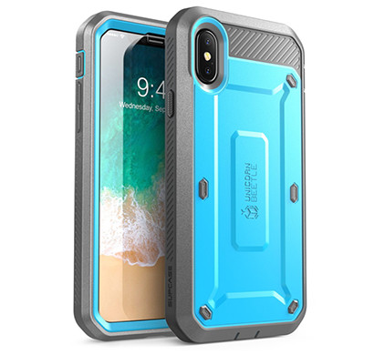supcase (b07fpcztvb) (unicorn beetle pro series) case for iphone xs, iphone x, full-body rugged holster case with built-in screen protector kickstand for iphone x 2017 & iphone xs 5.8 inch 2018 release (blue)