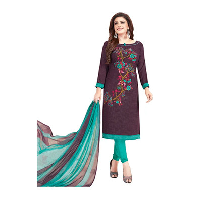 TENDISHA (2754) Synthetic Printed Unstitched Dress Material (Multi)