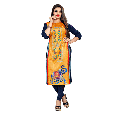 Textile Fab TF-13 Women's Crepe Printed Straight Cut Kurti
