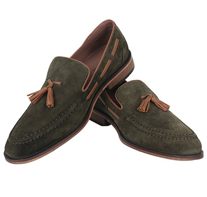 the leather box the charmer olive suede tasseled loafer leather mens shoes