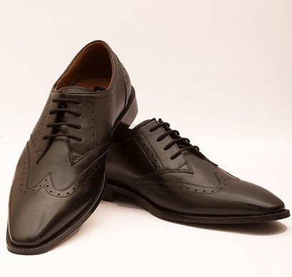 the leather box (33579-black) calf leather the minimalist wing tip black derby mens shoes