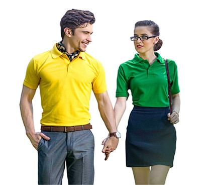 v-club collar h/s t-shirts yellow and green colour