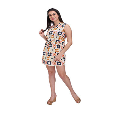Women Waisted Floral Tie Up Dress