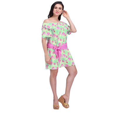 Women Lotus Print Off Shoulder Dress With SASH