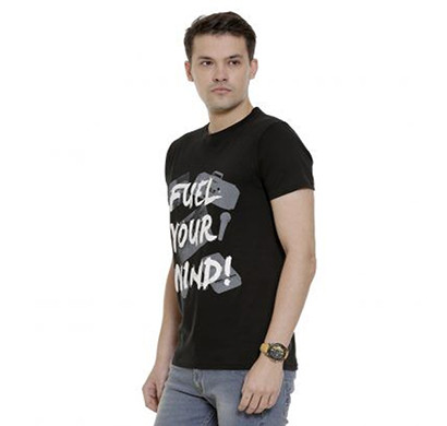 yellow tree fuel your mind half sleeves cotton t-shirt (black)