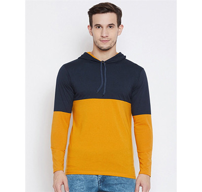yellow tree full sleeves hood cotton t-shirt (nevy blue & yellow)