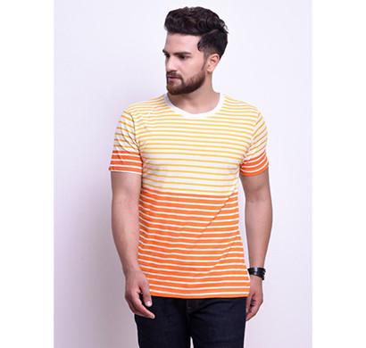 yellow tree line half seelves cotton t-shirt (orenge)