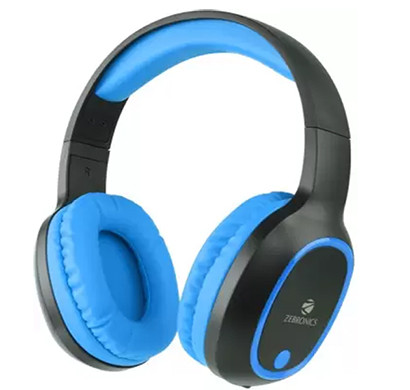 zebronics zeb thunder bluetooth headset with mic (over the ear,blue)