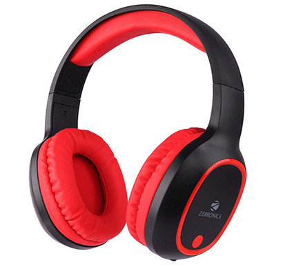 zebronics zeb thunder bluetooth headset with mic (red ,over the ear)