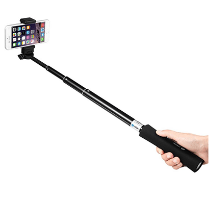 Zoook 3-in-1 Bluetooth Selfie Stick with Power Bank And Torch Black