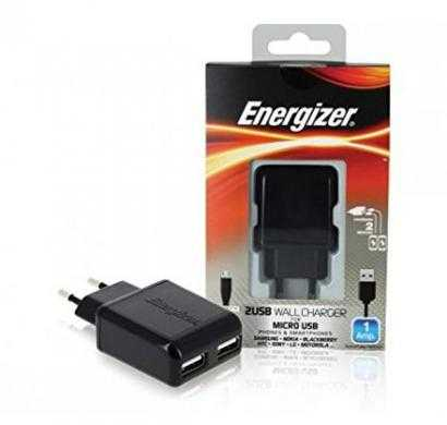 energizer classic wall charger 2 usb for micro-usb devices  (eu plug) black