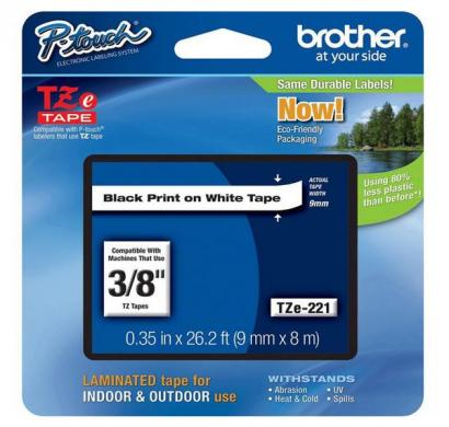 brother 9mm black on white tape tze-221