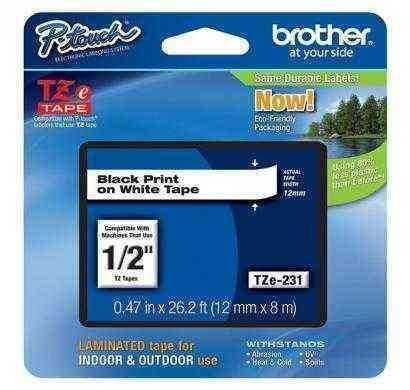 brother laminated black on white tape tze231
