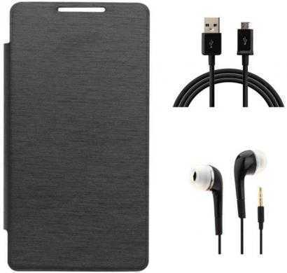 click away flip cover for samsung galaxy grand 3 (black) with 1 data cable and 1 headset