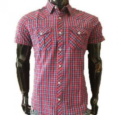 DNM X Slim Fit Casual Shirt 100% Cotton YD Checked - Red