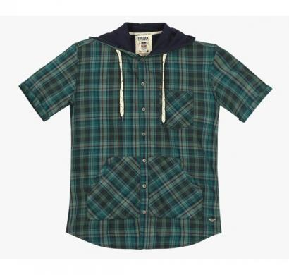 DNM X Slim Fit Shirt with Split Kangaroo Pocket - Green