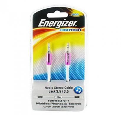 energizer audio stereo cable, metal serie for mobiles 1.5 m pink