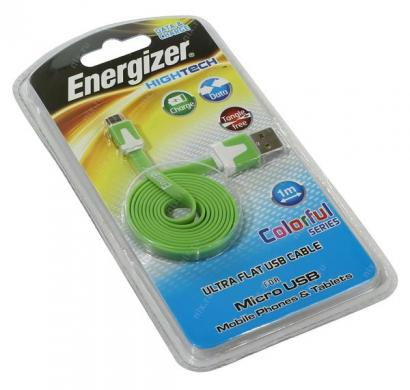energizer hightech ultra flat  micro-usb cable charge + data - green
