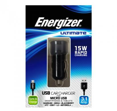 energizer ultimate car charger 2 usb 3 ampera for micro-usb devices black