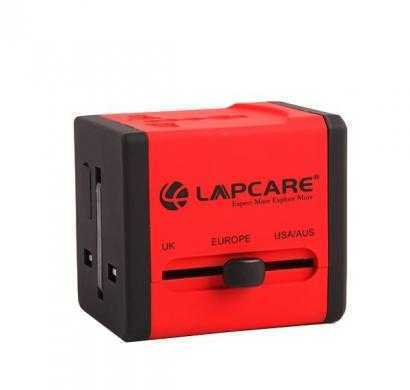 Lapcare World Travel Adaptor with Dual USB -Global Trotter (Red)