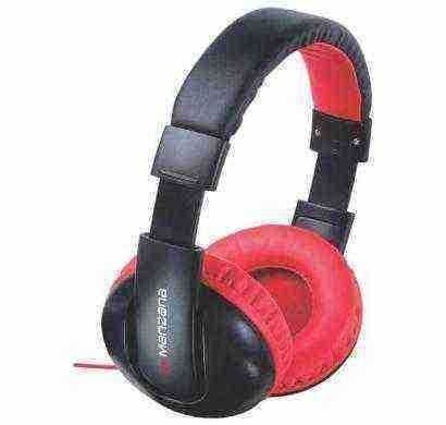 manzana hangon noise isolation headphone with mic red black