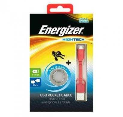 energizer pocket cable micro-usb charge + data - red